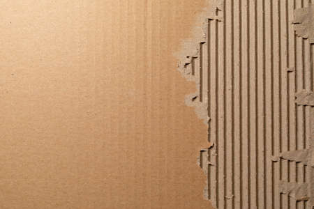 Photo pour Texture of corrugated cardboard with torn edges. Texture cardboard packaging. Cardboard texture. Cardboard Mesh Background - image libre de droit