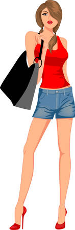 Illustration pour fashion girl with bags - image libre de droit