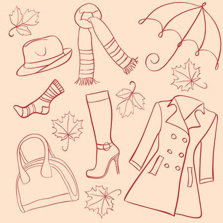Illustration pour Set of woman autumn clothes  - image libre de droit