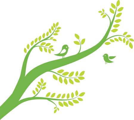 spring tree with birds. Vector illustration