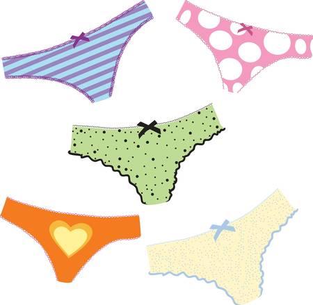woman's cute set  lingerie. Colorful vector illustration