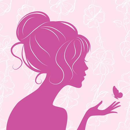 Photo for beauty girl silhouette with butterfly  - Royalty Free Image