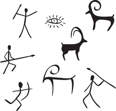 vector primitive figures looks like cave painting vector illustration