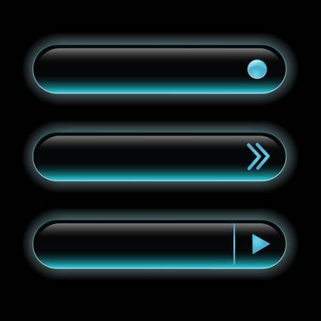 Website black buttons bars set template. Vector elements