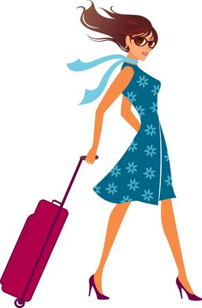 Photo for woman with a luggage bag. Vector illustration. - Royalty Free Image