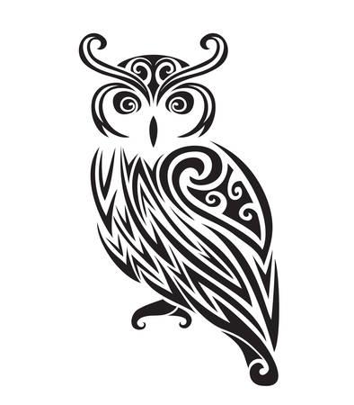 Decorative ornamental owl silhouette. vector illustration background.