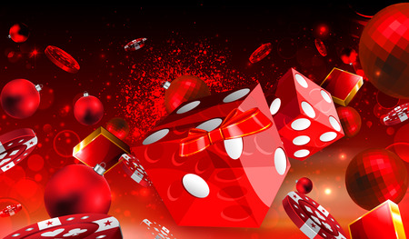 Casino Christmas dice and red balls floating illustration
