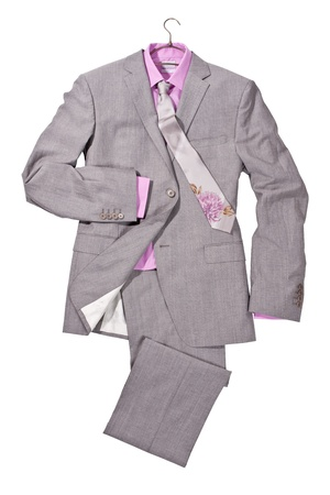 luxury gray male suit with pink shirt and tie with flowers isolated on white background