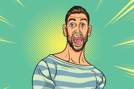 Illustration pour pop art man screams in horror, panic face.Shocked hipster bearded American businessman with comic cloud.scared male businessman. - image libre de droit