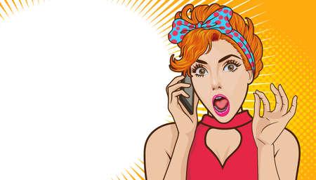 Ilustración de Shocked woman talking on mobile phone with copy space Pop art retro comic - Imagen libre de derechos