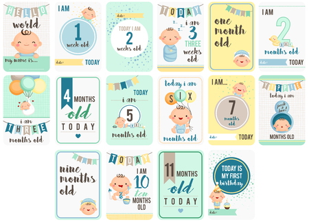 Baby Boy Weeks and Months Cardのイラスト素材