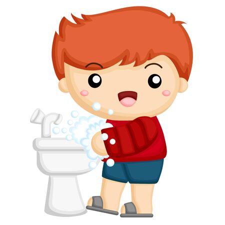 Ilustración de little boy wash his hands at the sink - Imagen libre de derechos