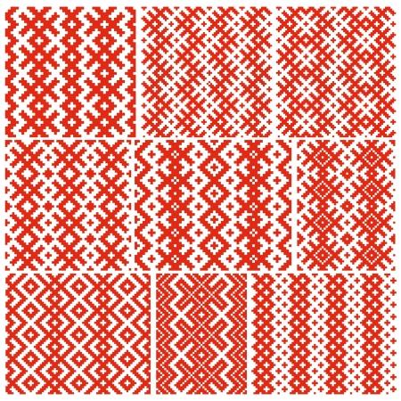 Set of nine belorussian traditional patterns