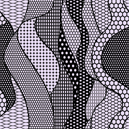Black lace fabric seamless pattern with lines and waves