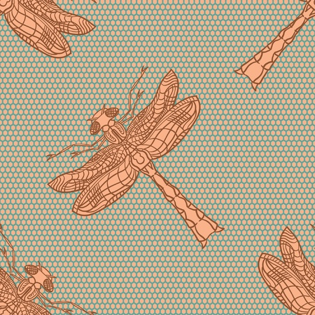 Dragonfly  illustration  Dragonfly seamless pattern