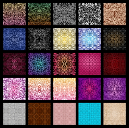 Illustration for Big collection of 25 vector seamless patterns in different colours - Royalty Free Image