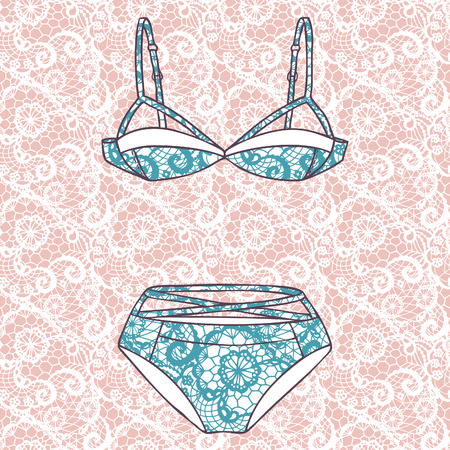 Lacy sexy bra and panties  Vector illustration