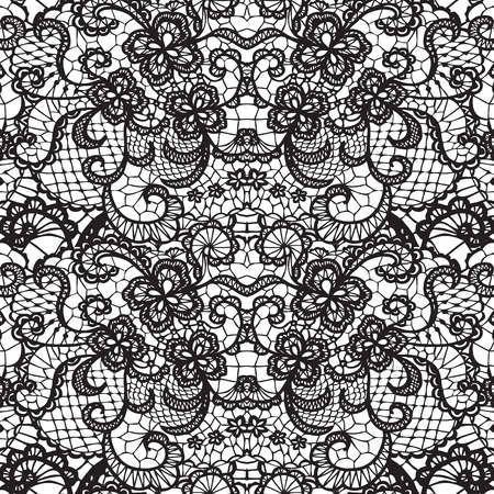 Illustration pour Lace black seamless pattern with flowers on white background - image libre de droit