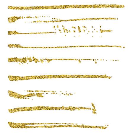 Set of glitter brush strokes.