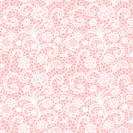 Ilustración de White lace seamless pattern with flowers on pink background - Imagen libre de derechos