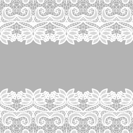 Lace border. Vector illustration. White lacy vintage elegant trim.