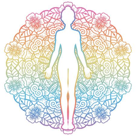 Illustration pour Mandala round background.Women silhouette. Yoga mountain pose. Tadasana. Vector illustration - image libre de droit