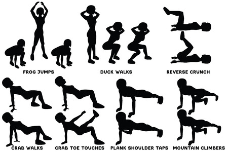 Illustration pour Frog jumps. Duck walks. Reverse crunch. Crab walks. Crab toe touches. Plank shoulder taps. Mountain climbers. Sport exersice. Silhouettes of woman doing exercise. Workout, training Vector illustration - image libre de droit
