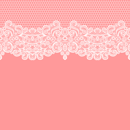 Photo for Seamless lace border. Vector illustration. White lacy vintage elegant trim. - Royalty Free Image