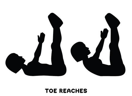 Illustration pour Double crunches. Double crunch. Sport exersice. Silhouettes of woman doing exercise. Workout, training Vector illustration - image libre de droit