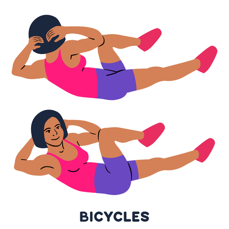 Illustration pour Bicycles. Elbow to cnee crunches. Cross body crunches. Sport exersice. Silhouettes of woman doing exercise. Workout, training Vector illustration - image libre de droit