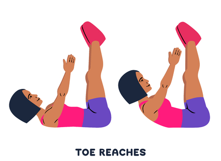 Illustration pour Toe reaches. Crunches. Sport exersice. Silhouettes of woman doing exercise. Workout, training Vector illustration - image libre de droit