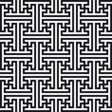 Chinese geometric pattern. Traditional ornament with swastikas (manji symbol).
