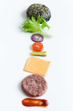 Ingredients for the black Burger over white background