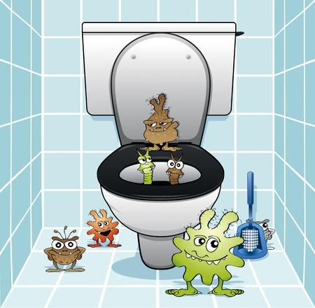Illustration pour Toilet monsters coming out of the drain - image libre de droit