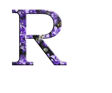 Letter R from the alphabet in flowers campanula