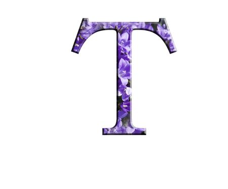 Letter T from the alphabet in flowers campanula