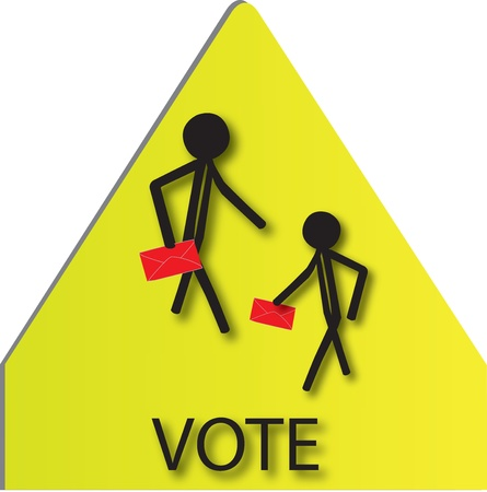 voting people on sign board