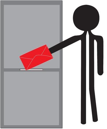 man posting red enveloppe drawing