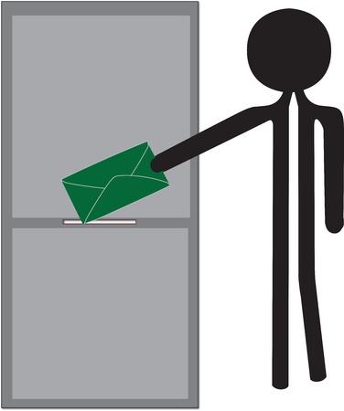 man posting green enveloppe drawing