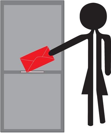 woman posting red enveloppe drawing