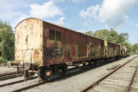 old rusted train at trainstation hombourg in belgium