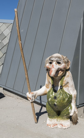a monument of a troll , a typical caracter from norway