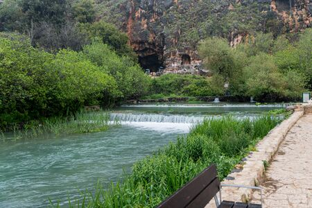 Photo for In the background of the Banias Spring is Pans Cave, where the waterway originated in ancient times - Royalty Free Image