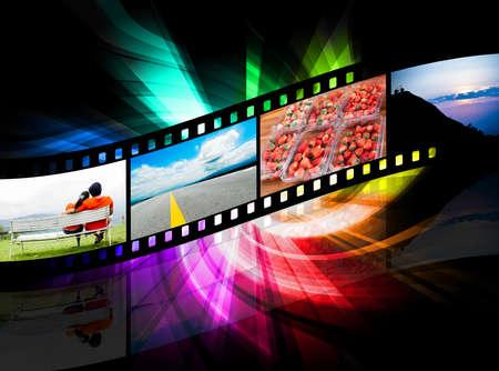 Photo pour strip film and there is a colorful black background - image libre de droit