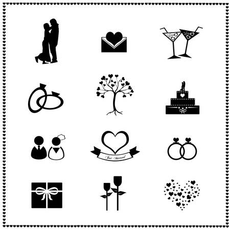 Set of wedding icons, Vector illustration