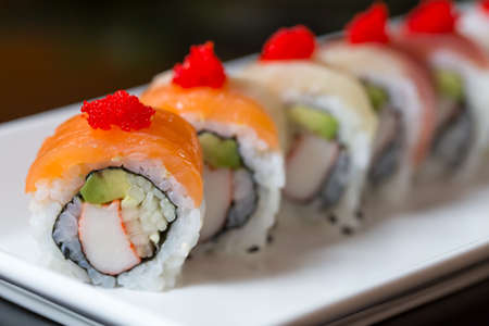 Photo pour Sushi set, Japanese food - image libre de droit