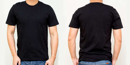 Photo pour Black T-Shirt front and back, Mock up template for design print - image libre de droit