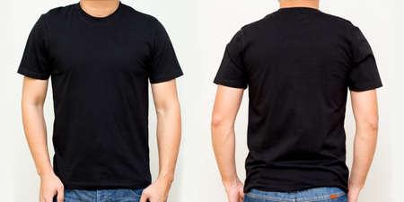 Black T-Shirt front and back, Mock up template for design print