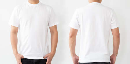 Foto de White T-Shirt front and back, Mockup template for design print - Imagen libre de derechos
