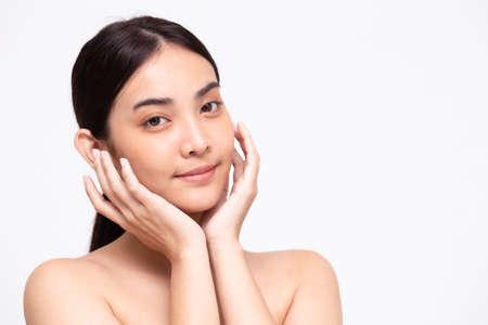 Foto de Portrait of beauty Asian woman clear healthy perfect skin isolated on white background. Beauty clinic facial treatment skincare concept - Imagen libre de derechos